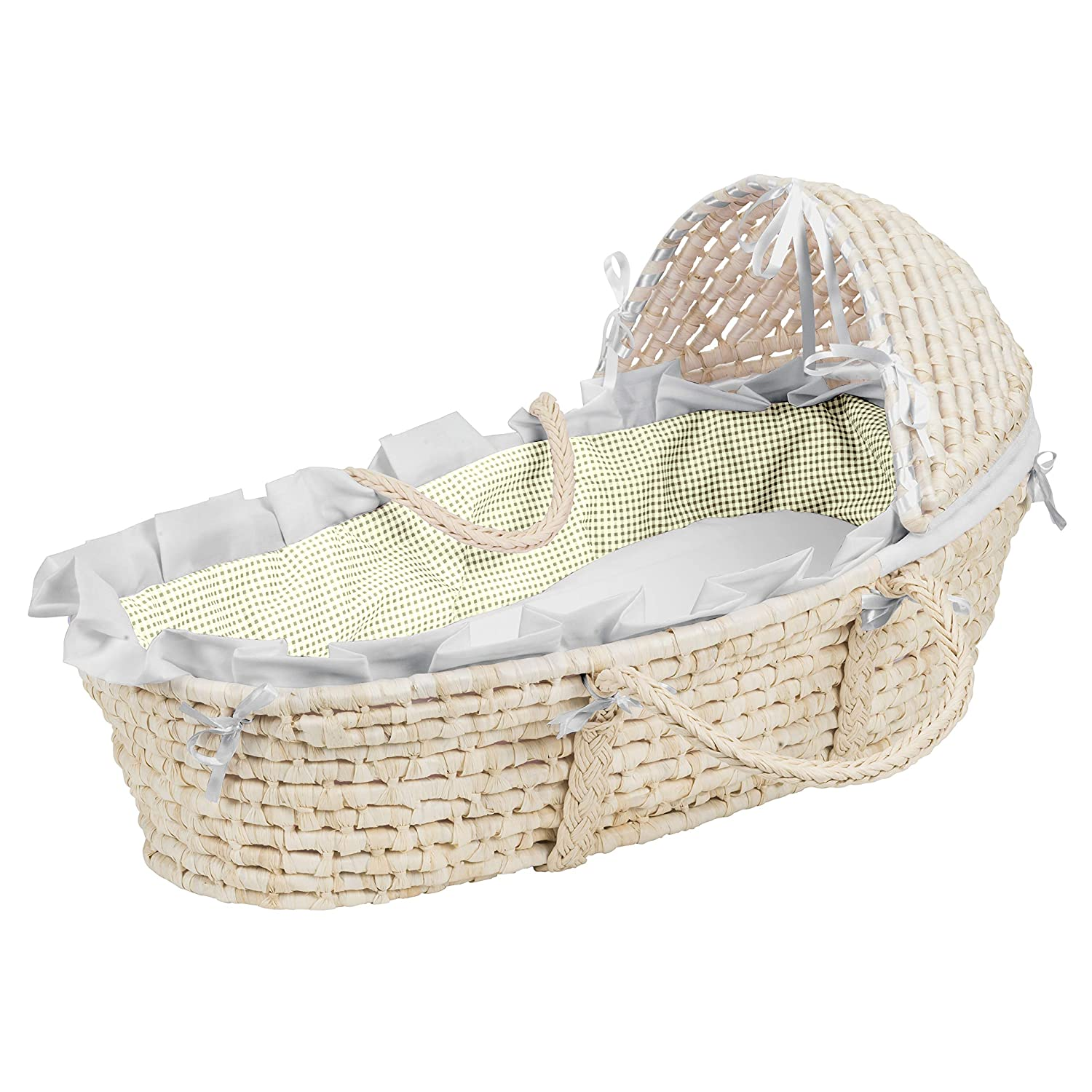 B0003008A4 Hooded Baby Moses Basket with Liner, Sheet, and Pad 81SLbpCa2BrL