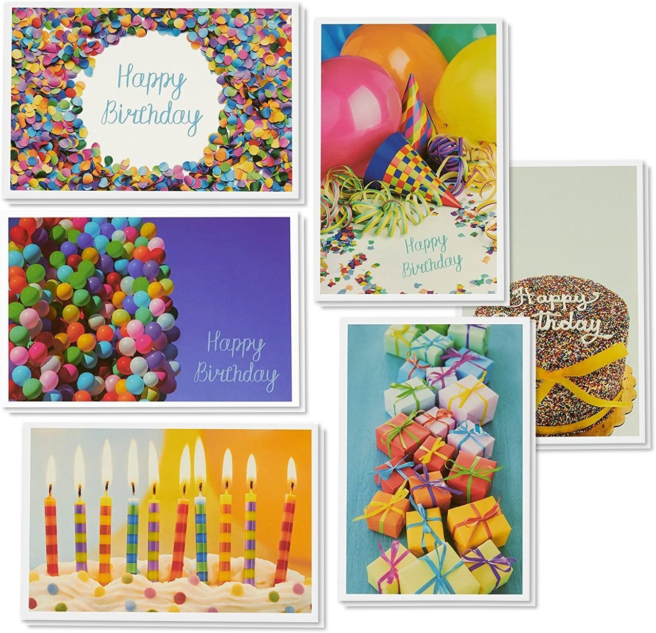 48-Pack Happy Birthday Cards Assortment with Envelopes, 6 Designs, Blank Inside, Bulk Box Set for Kids, Employees, Clients, Women, Men, 4 x 6 Inches