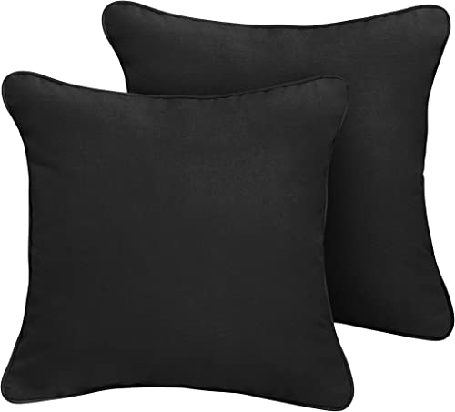 Mozaic AMZ353601SP Sunbrella Canvas Black Outdoor Pillow Set, 18 x 18