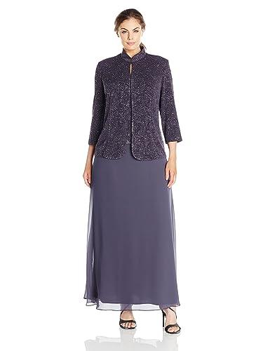 Alex Evenings Women's Plus-Size Jacquard Knit Long Dress and Manadrin Jacket