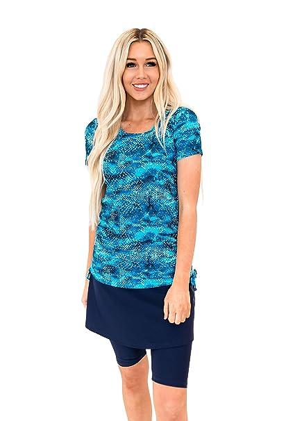 401bc0f26b688 Ella Mae Modest Swimsuit for Women: Short Sleeve Rash Guard Swim Shirt & Swim  Skirt