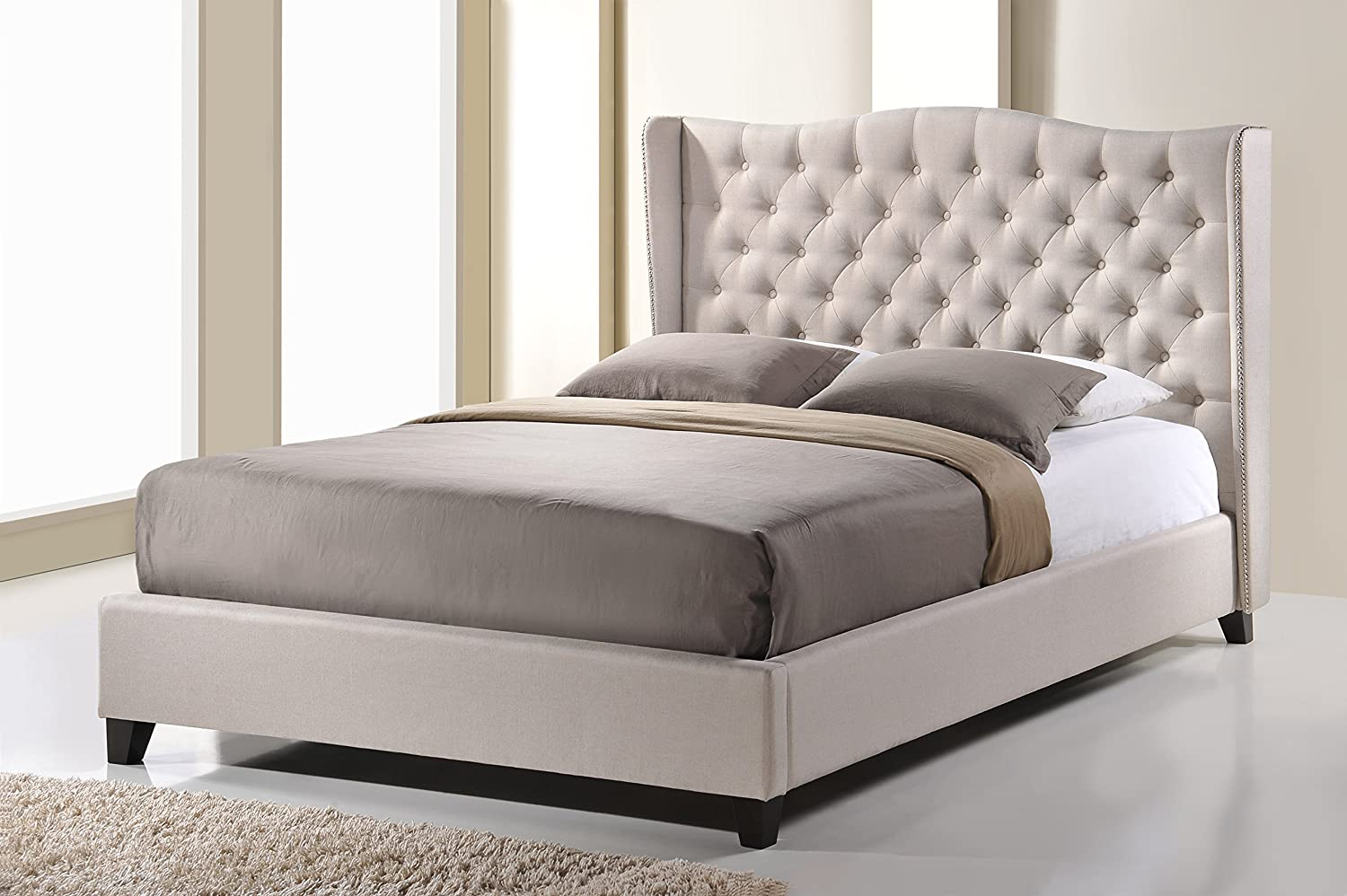 modern platform bed with lights. Amazon.com: Baxton Studio Norwich Linen Modern Platform Bed, King, Light Beige: Kitchen \u0026 Dining Bed With Lights R