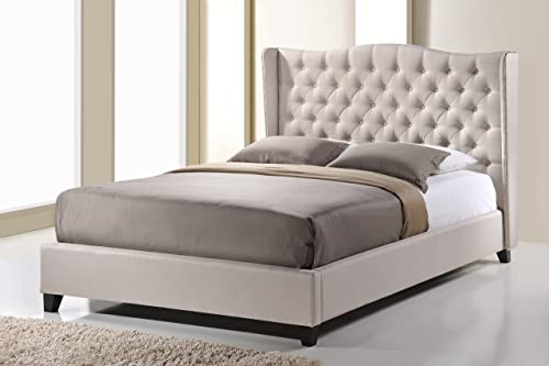 Baxton Studio Norwich Linen Modern Platform Bed, Queen, Light Beige