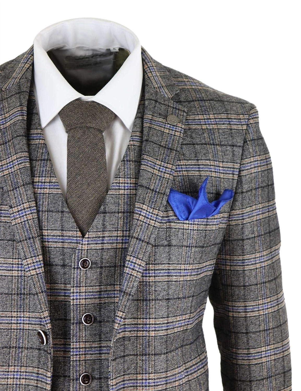 Amazon.com: Traje de tweed a cuadros para hombre, 3 piezas ...