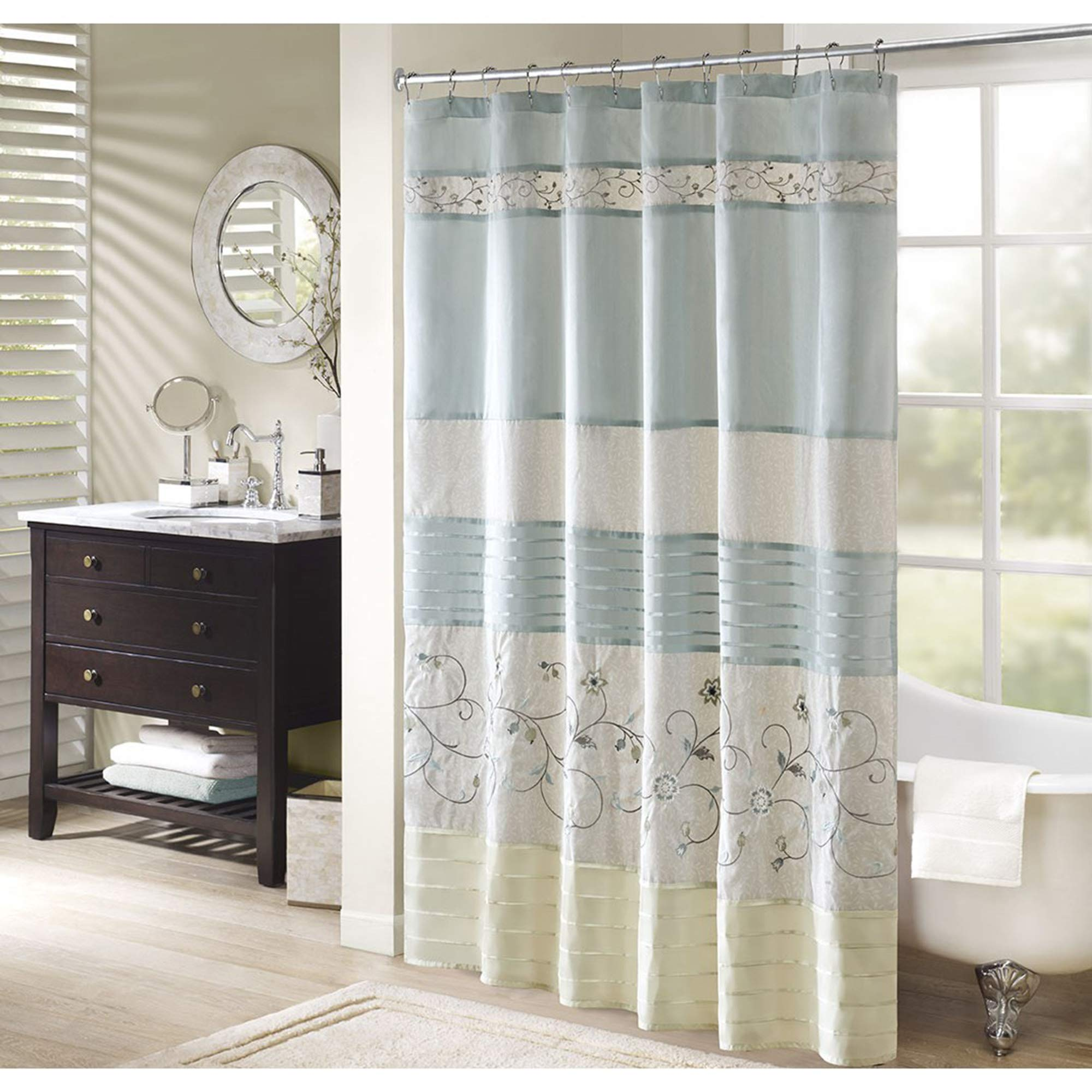 Madison Park Serene Shower Curtain, Aqua by Madison Park