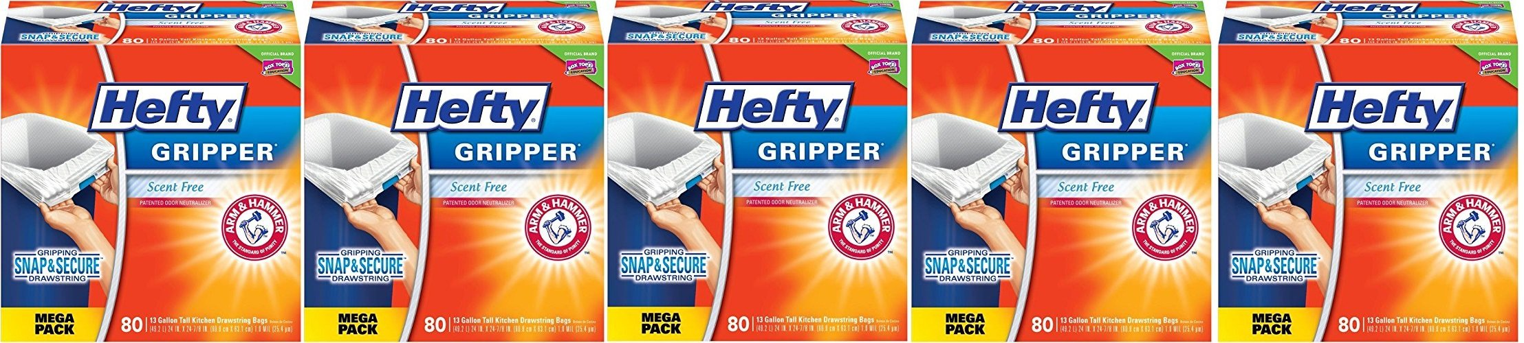 Hefty Gripper Trash Bags (Tall Kitchen Drawstring, 13 Gallon, 80 Count), UemOFT 5Pack 80 Count