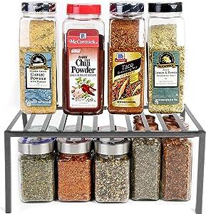 Smart Design Premium Cabinet Storage Shelf - Medium (13.25 x 8.5 Inch) - Steel Metal - Rust Resistant - Cupboard, Plate, Dish, Counter & Pantry Organization - Kitchen [Charcoal Gray]