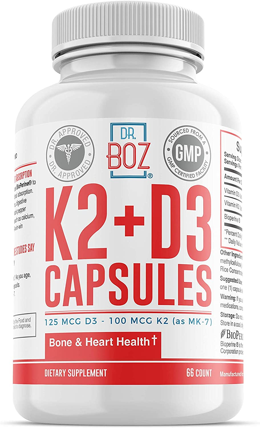 Dr. Boz Vitamin K2 (MK-7) + D3 Capsules with Bioperine® for Best Absorption | Vitamin D Supplement | Vitamin K Supplement | Vitamin K2 D3 Supplement [Bone Health | Heart Health]- 66 Count