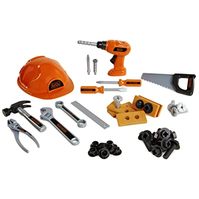 BLACK+DECKER Junior Kids Tool Set - Mega Tool Set with 42Piece Tools & Accessories! Role Play Tools for Toddlers Boys & Girls Ages 3 Years Old & Above, Includes Helmet & Drill!: Toys & Games