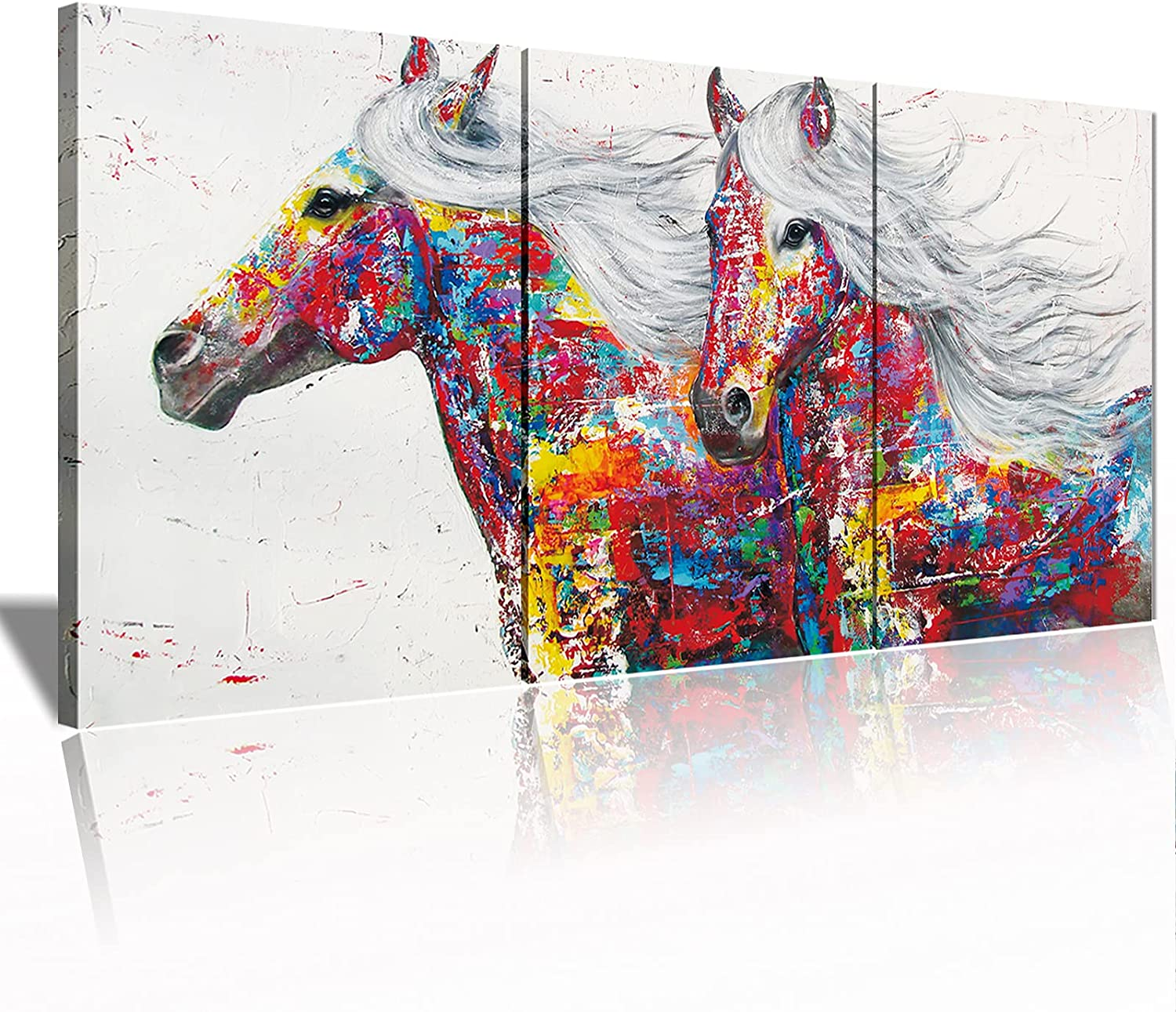 Animal Framed Wall Art for Living Room Bedroom Home Decor Colorful Abstract Horses Prints and Posters Canvas Painting Print on Canvas Picture for Home Modern Horse Pictures for Walls Ready to Hang