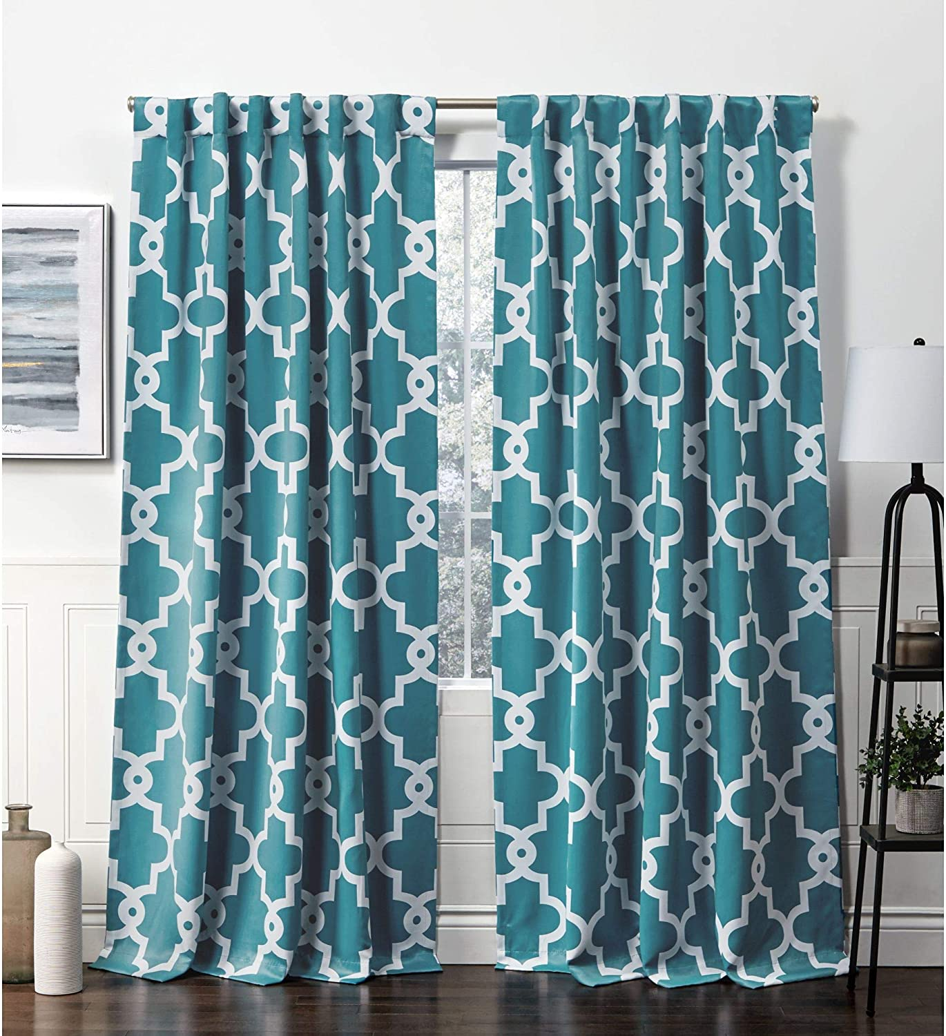 Amazon Com Exclusive Home Curtains Ironwork Hidden Tab Top Curtain Panel 52x84 Teal 2 Panels Home Kitchen