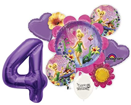 4th Birthday Wishes Purple Number Tinkerbell Party Decorations Balloon Bouquet Bundle