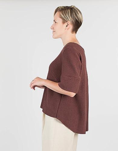 Amazoncom Womens Short Sleeve Chocolate Brown Wool Sweater Handmade