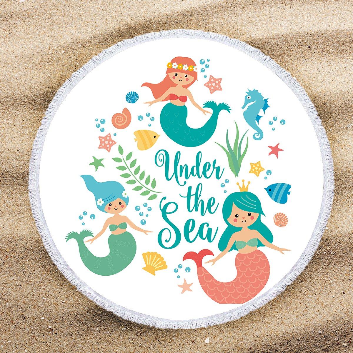 ARIGHTEX Little Mermaid Beach Towel Round Beach Towels for Girls Turquoise Ocean Decor Beach Roundie Fringe