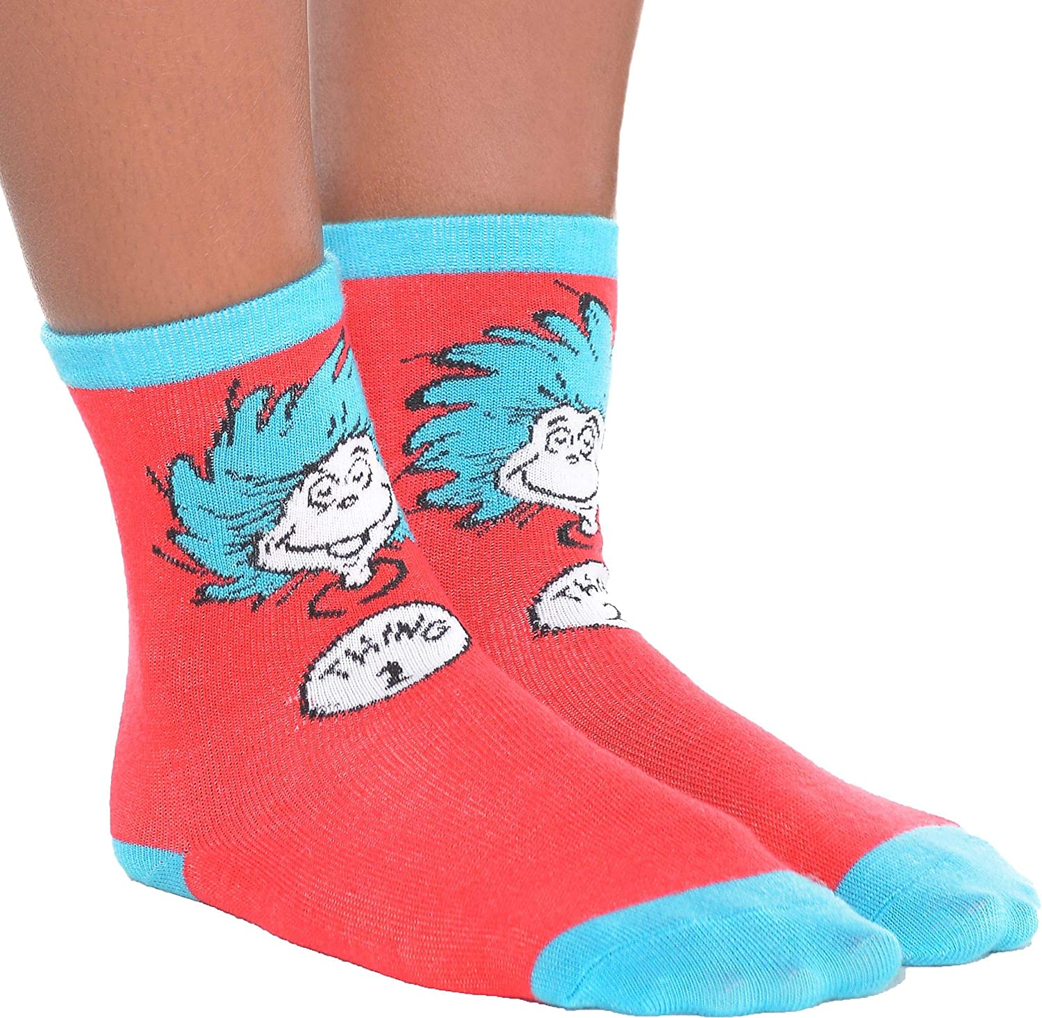 One Size Costumes USA Dr Cat in the Hat Costume Accessories Seuss Thing 1 /& Thing 2 Socks for Kids