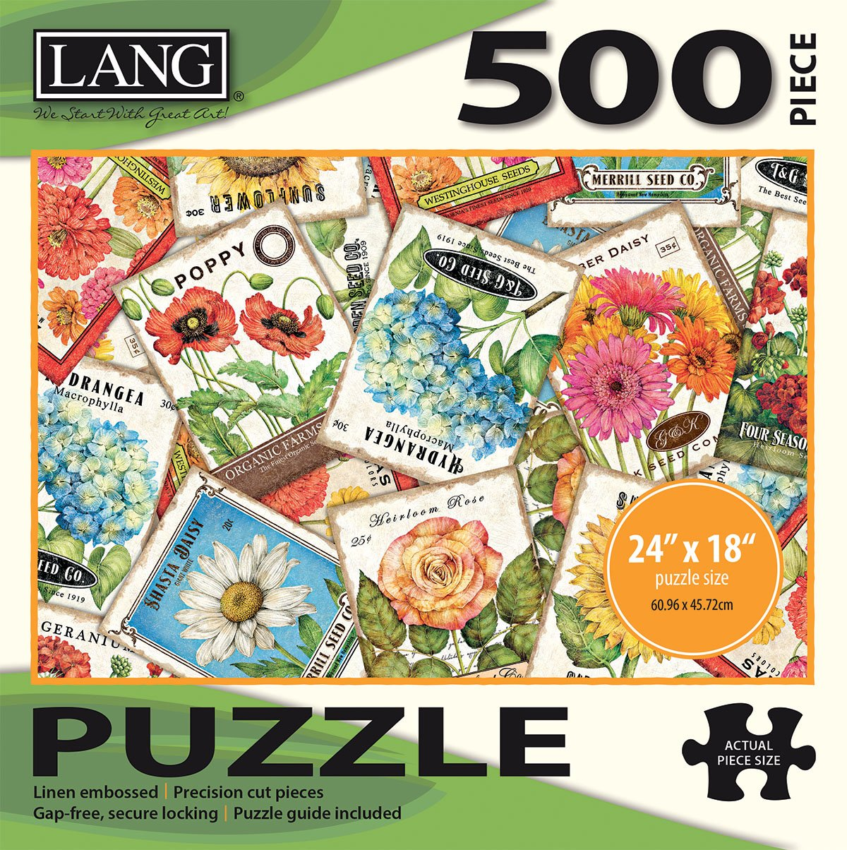 """24/"""" x 18/"""" Completed The Lang Companies 5039122 Linen Finish LANG Artwork by Tim Coffey 500 Piece Puzzle -Seed Packets"""