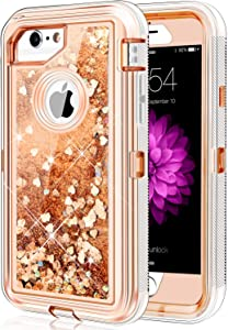 iPhone 6 6S 7 8 Case, Caka iPhone 7 8 Glitter Case Protective Heavy Duty Bling Flowing Floating Luxury Glitter Sparkle Liquid Case for iPhone 6 6S 7 8 SE 2020 (4.7 inch) (Love Gold)