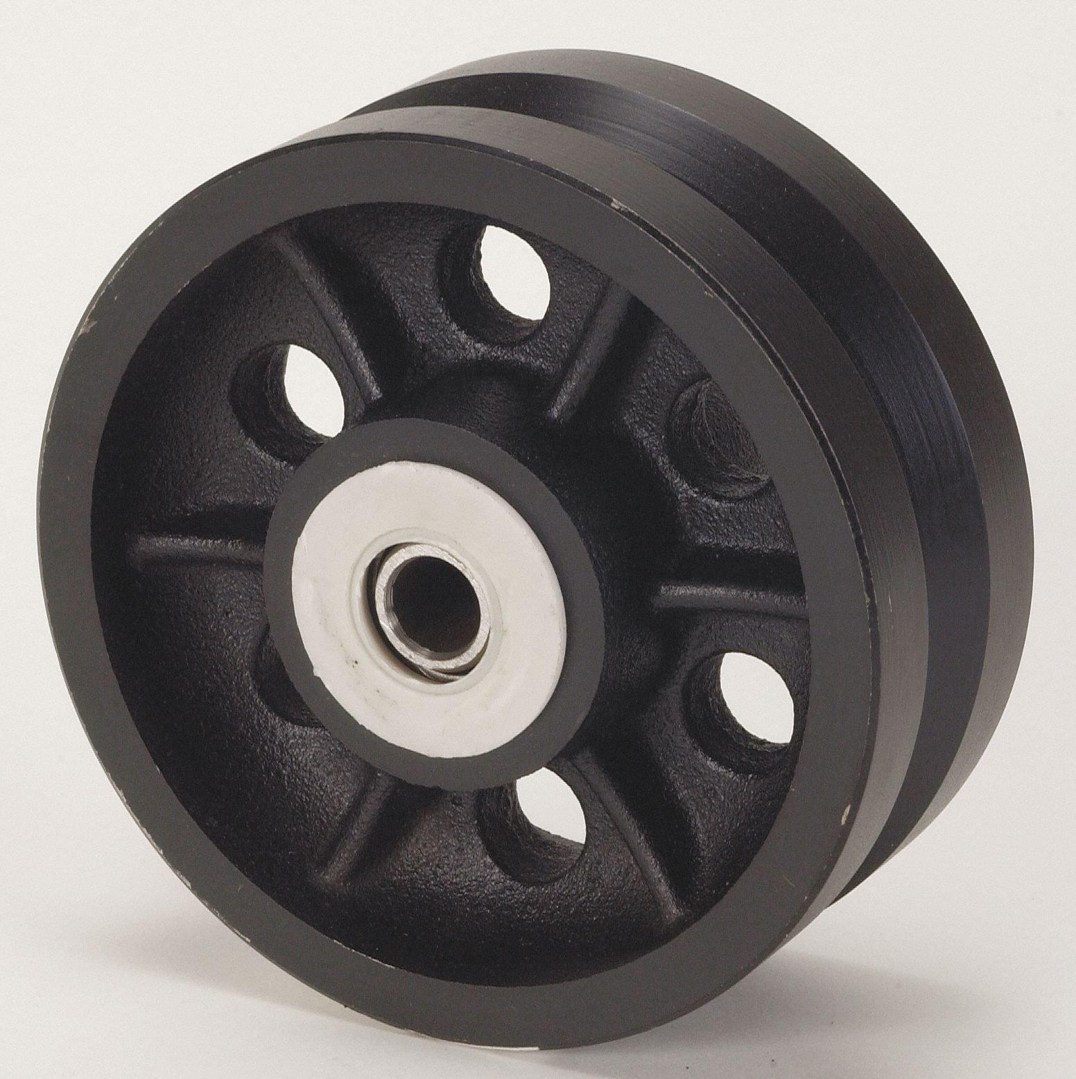 5'' Caster Wheel, 900 lb. Load Rating, Wheel Width 2'', Cast Iron, Fits Axle Dia. 1/2''