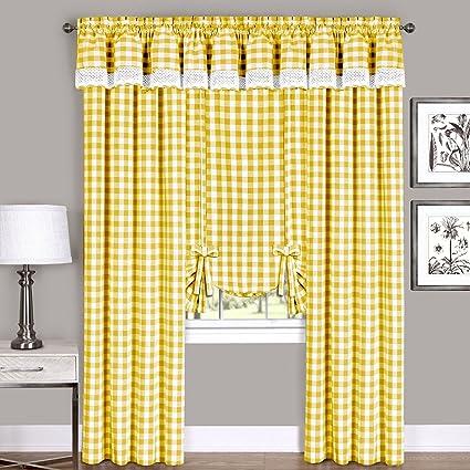 Achim Home Furnishings 58 x 14 Buffalo Check Window Curtain Valance, Yellow