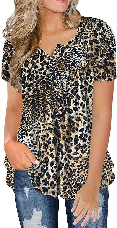 FOTBIMK Camiseta de manga corta con cuello en V para mujer, estilo casual, con botones, para verano