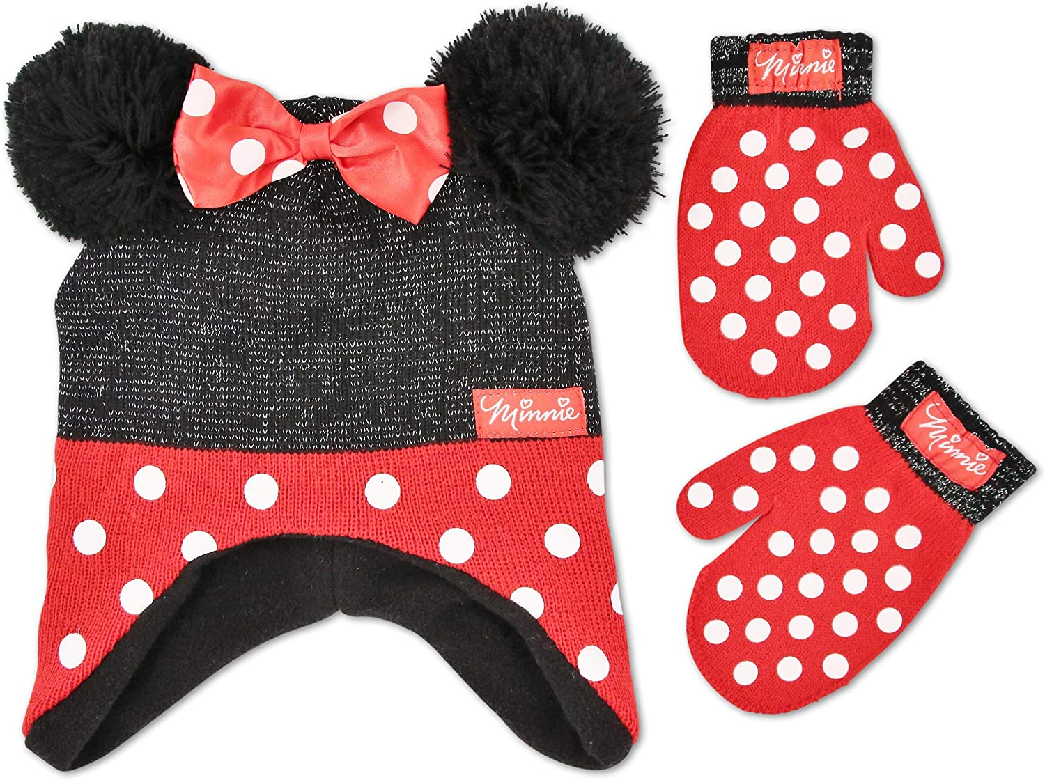 Disney Girl Winter Hat Set, Minnie Mouse Kids Beanie and Gloves Or Mittens for Age 4-7: Clothing
