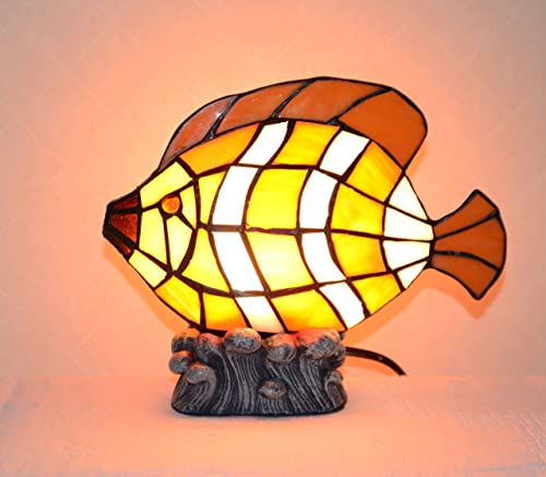 7.75 H Stained Glass Tiffany Style Fish Night Light Table Desk Lamp