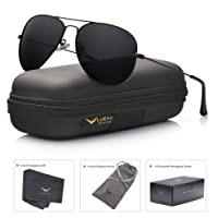 LUENX Men Aviator Sunglasses Polarized - UV 400 Protection with case 60MM Classic Style