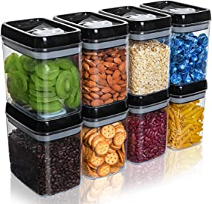 NOLOSHA 8 Pack Airtight Food Storage Container Set - Kitchen & Pantry Organization Containers - Labels & Chalk Marker - BPA Free Clear Plastic Kitchen and Pantry Organization Containers, 1.5L