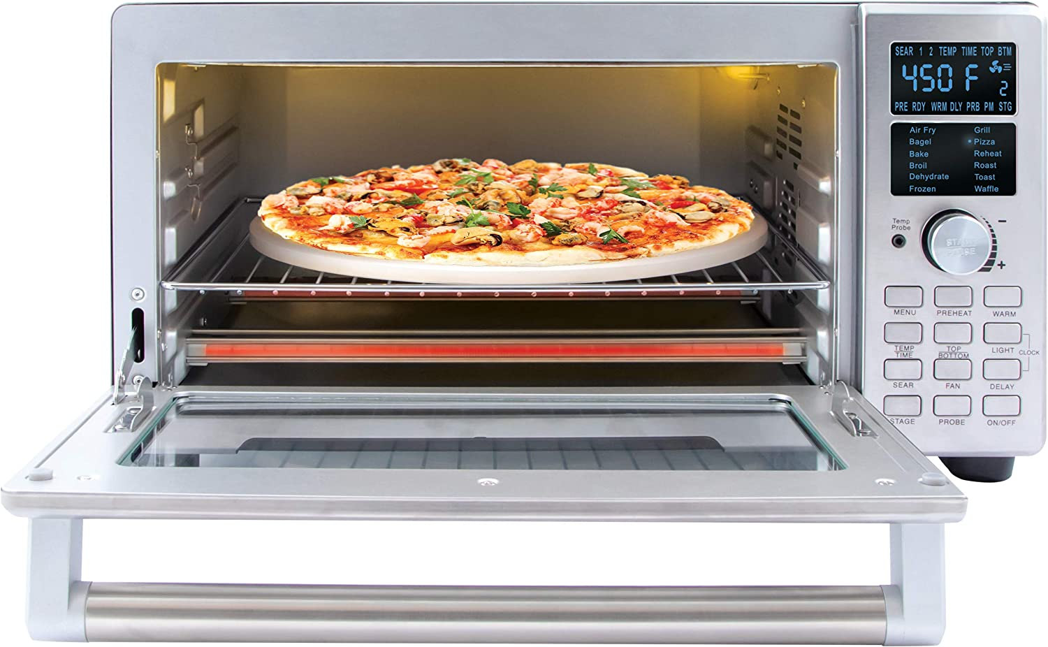 NEW NUWAVE BRAVO XL 1800-Watt Convection Oven with Crisping and Flavor Infusion Technology (FIT) with Integrated Digital Temperature Probe for Perfect Results; 12 Programmed Presets; 3 Fan Speeds; 5-Quartz Heating Elements; Precision Temperature Control from 100F to 450F in 5F increments; Cook up to a 10 LB. Chicken, 13 inch Pizza, or 9 Slices of Toast