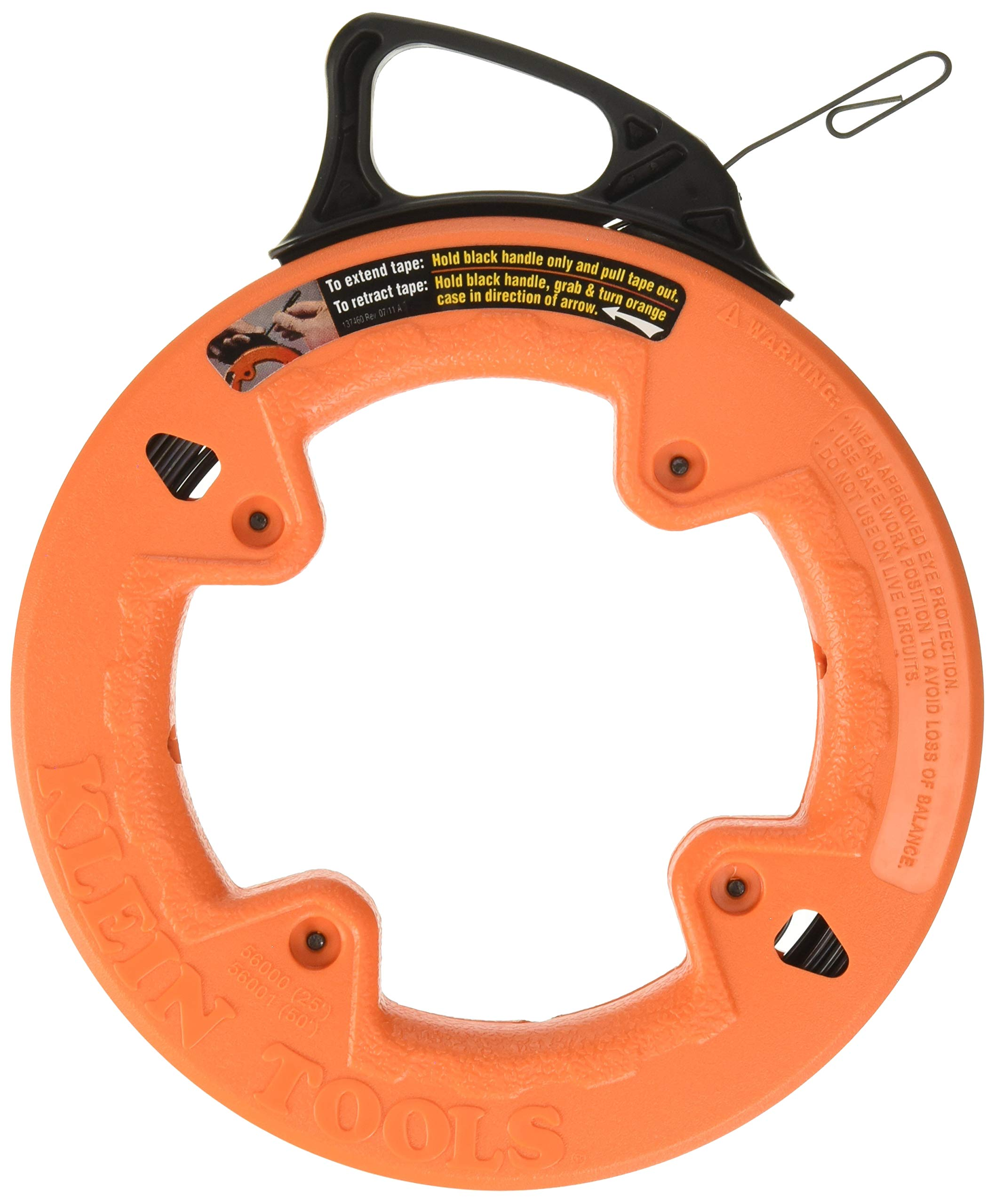 Klein Tools 56001 Fish Tape, 50-Foot Steel, Great for Heavy Duty Wire Pulls, Laser Etched for Conduit Measuring by Klein Tools