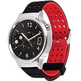 Greatfine Correa 18mm de Pulsera de Reloj Silicona Liberación Reemplazo banda para Huawei Watch W1 / Huawei Fit / Withings Activité and All 18MM Watch (BlackRed)
