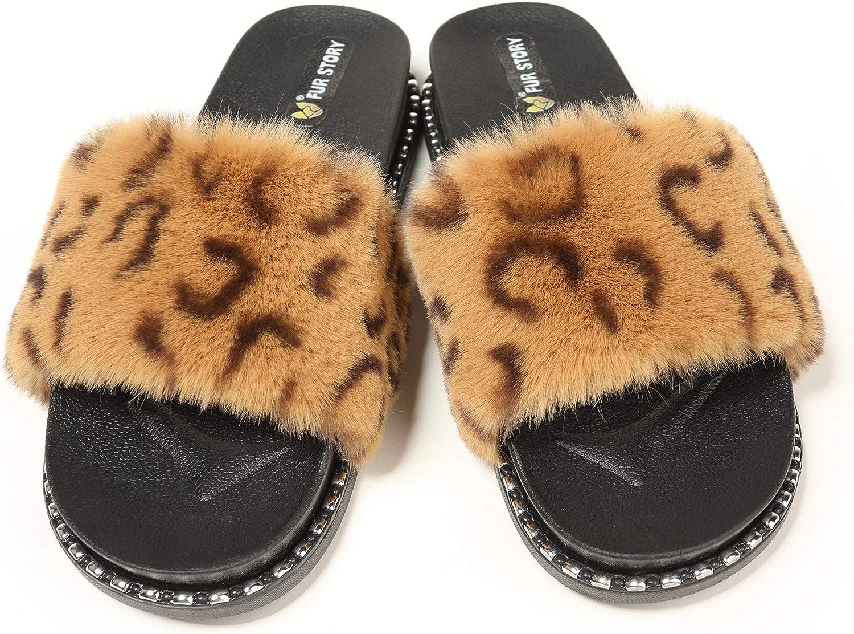 Fur Story Womens Slides Glitter Rhinestone Platform Sandals Black Gold