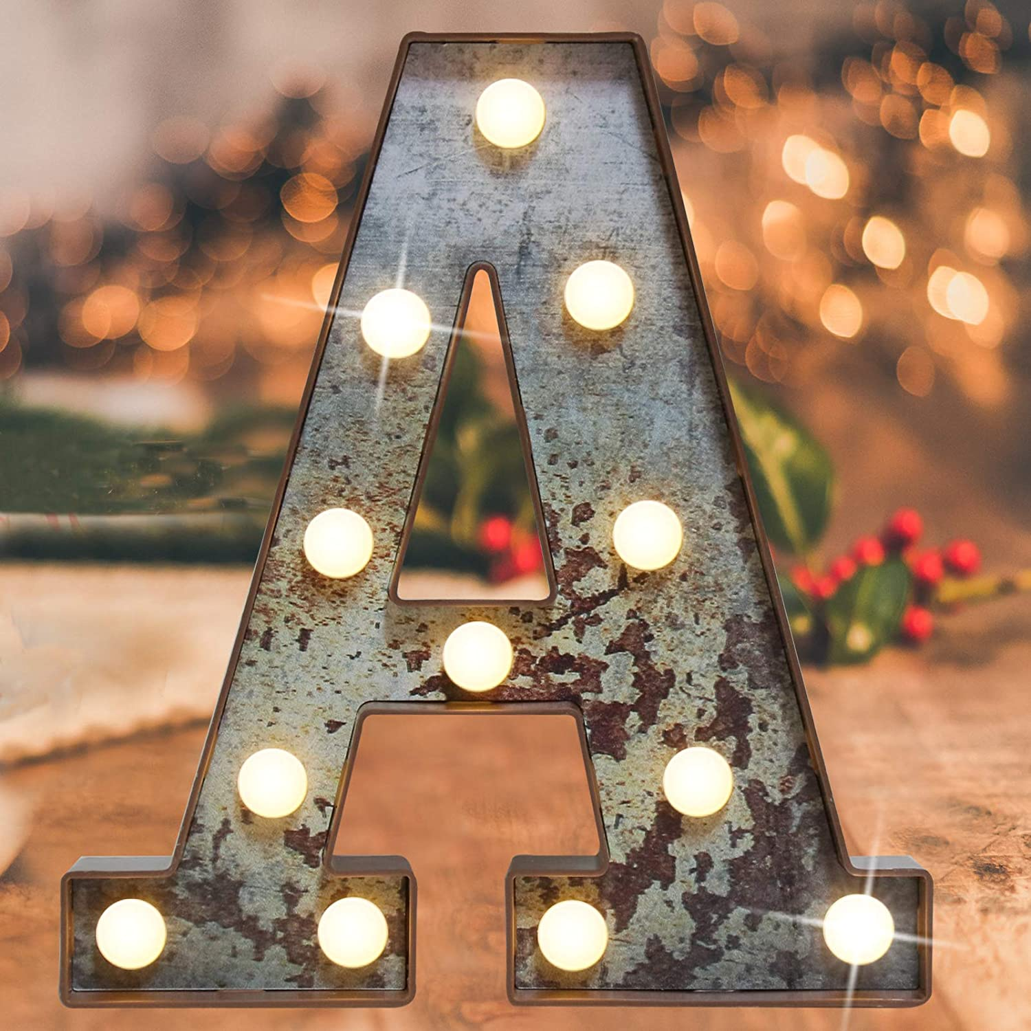 Vintage Illumination Led Marquee Letter Lights,Iron Effect Industrial Style Light Up Alphabet Letter Sign for Cafe Wedding Birthday Party Christmas Lamp Home Bar Initials Decor(Rusty letter A)