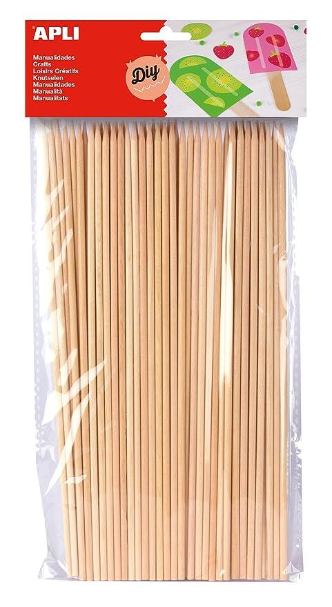 APLI - Bolsa palo redondo madera pincho 200 x 3 mm, 50 uds: Amazon ...