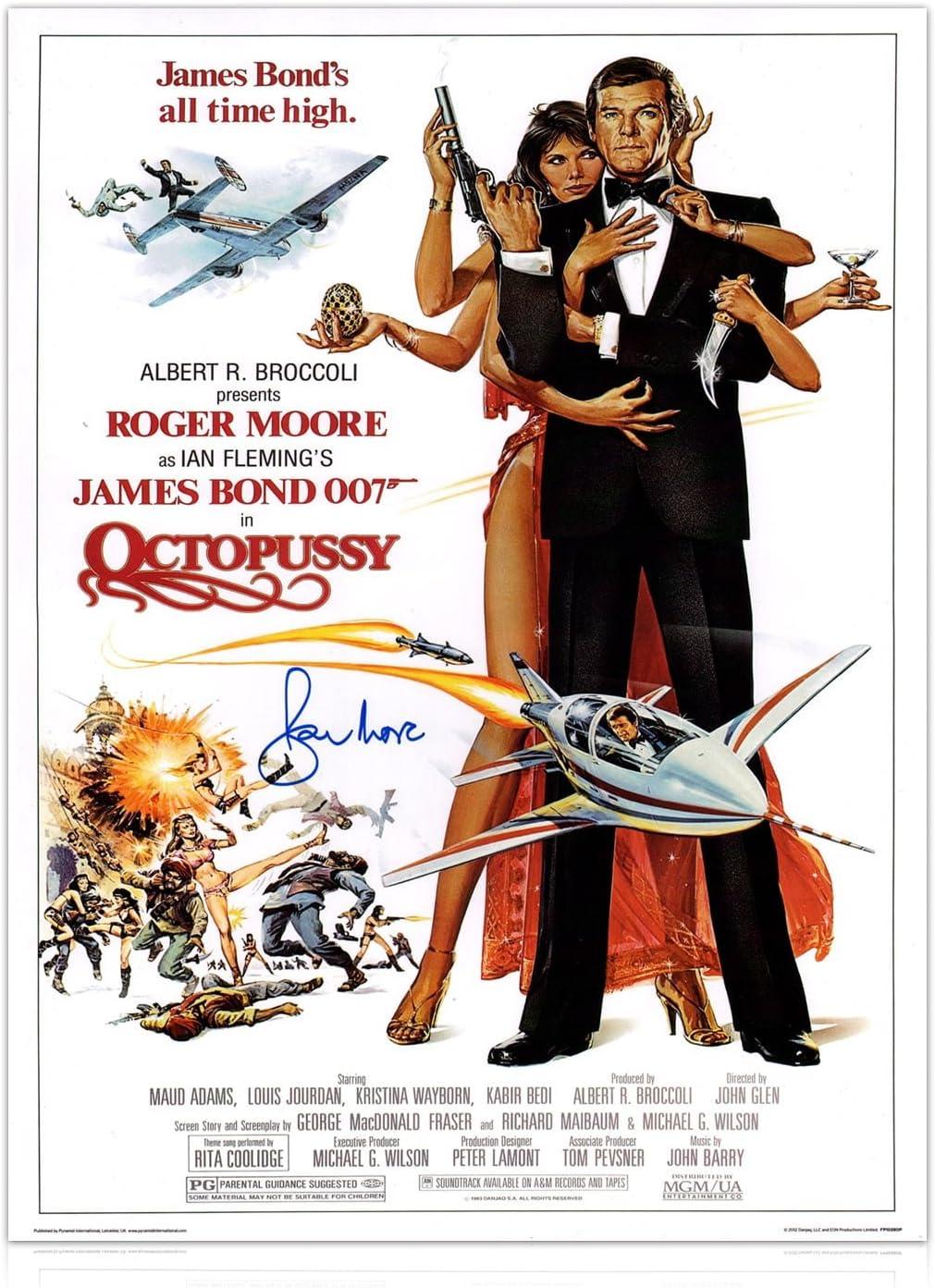 Roger Moore firmó el cartel de la película de Octopussy James Bond ...