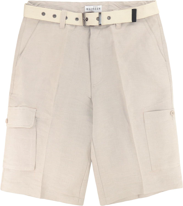 CONCITOR Men/'s Linen Cargo Shorts Flat Front Solid KHAKI TAN Color Short /& Belt