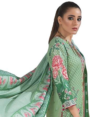 459929dc32 Image Unavailable. Image not available for. Colour: Surkhab Impressions  Women's Original Pakistani Pure Lawn Cotton Embroidered Unstitched Salwar  Suit Dress ...