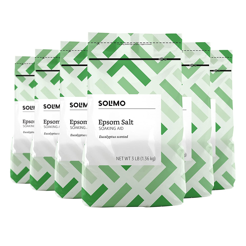 Amazon Brand - Solimo Epsom Salt Soaking Aid, Eucalyptus Scented, 3 Pound (Pack of 6) Amazon.com Services Inc.