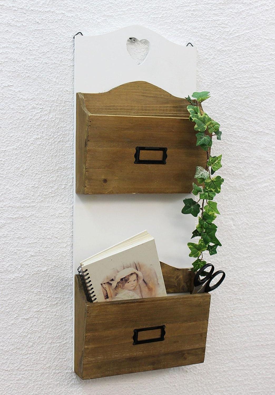 12028 Estanteria de pared, revistero - 63 cm, Con Corazòn, soporte para periódico, estanteria de cocina DanDiBo