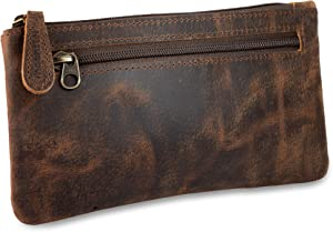 Leather Pencil Case - Beautifully Handcrafted Zippered Pouch That's Made to Last - Elegant, Practical Pencil Cases for Adults and Students - Unique Design with Side Pocket and Keyring - 8 x 4 inches