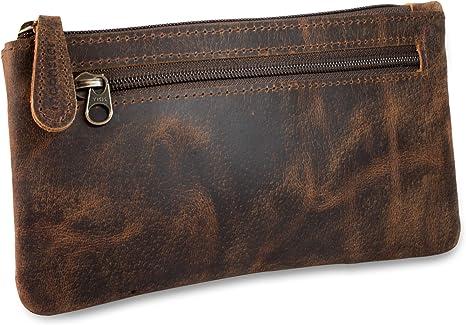 Estuche de piel para lápices (marrón, 20 x 10 cm): Amazon.es: Hogar