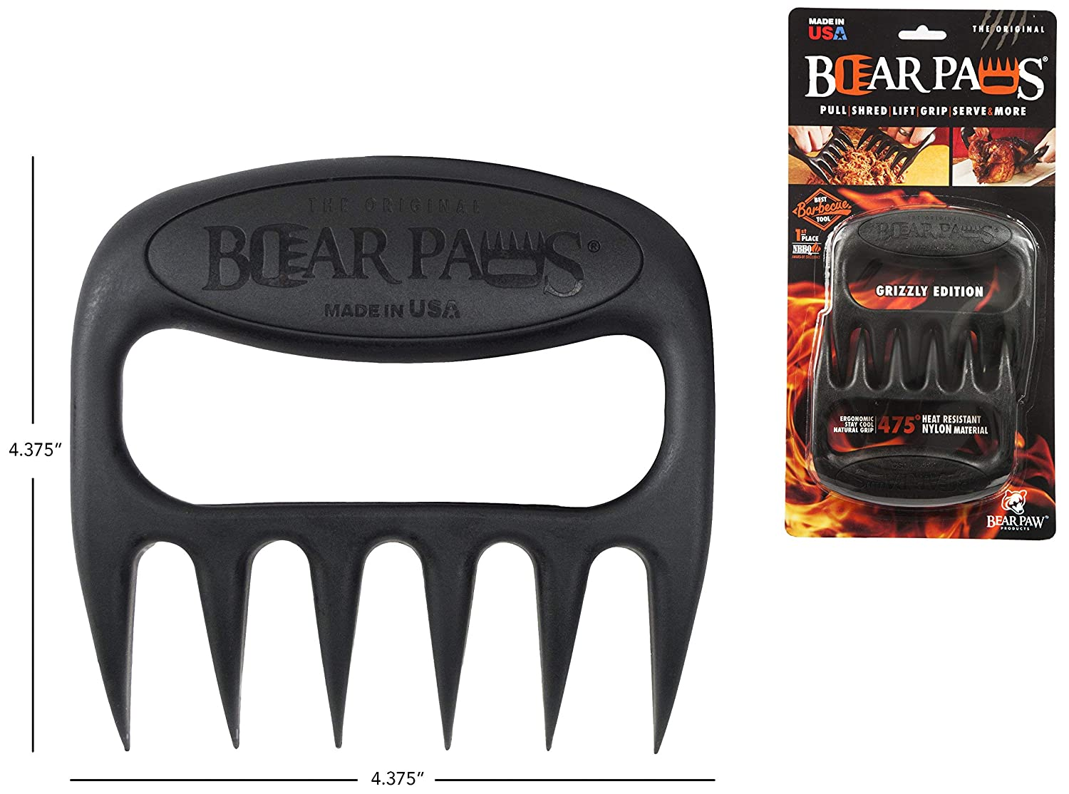 The Original Bear Paws Shredder Claws - Easily Lift, Handle, Shred, and Cut Meats - Essential for BBQ Pros - Ultra-Sharp Blades and Heat Resistant Nylon (Renewed) 81dFDq1C9gL