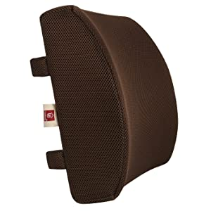 LoveHome Memory Foam Lumbar Support Back Cushion with 3D Mesh Cover Balanced Firmness for Lower Back Pain Relief - Ideal Back Pillow for Office Chair and Car Seat - Coffee
