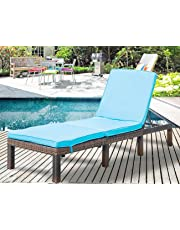 Leisure Zone Patio Furniture Outdoor Adjustable PE Rattan Wicker Chaise Lounge Chair Sunbed