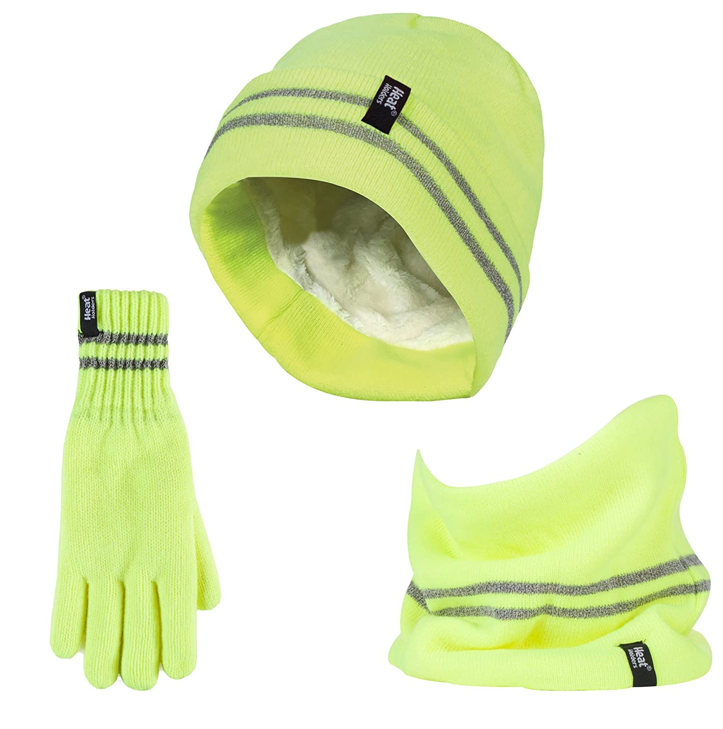 Heat Holders - Hi Vis Thermal Chunky Hat, Glove & Neck Warmer for Winter Outdoors
