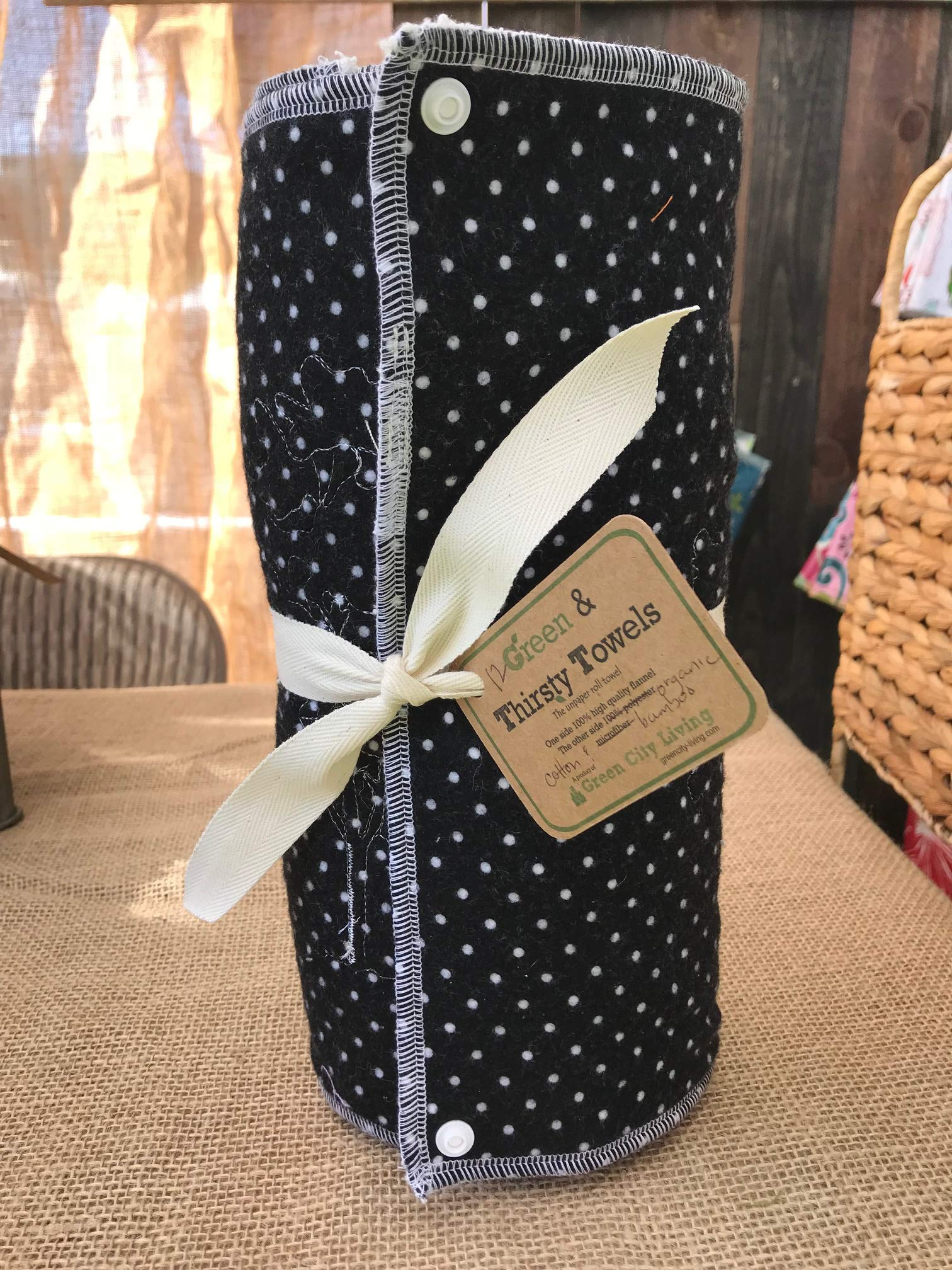 Green & Thirsty Unpaper Towels: BLACK DOT Organic Cotton & Bamboo by GreenCityLiving