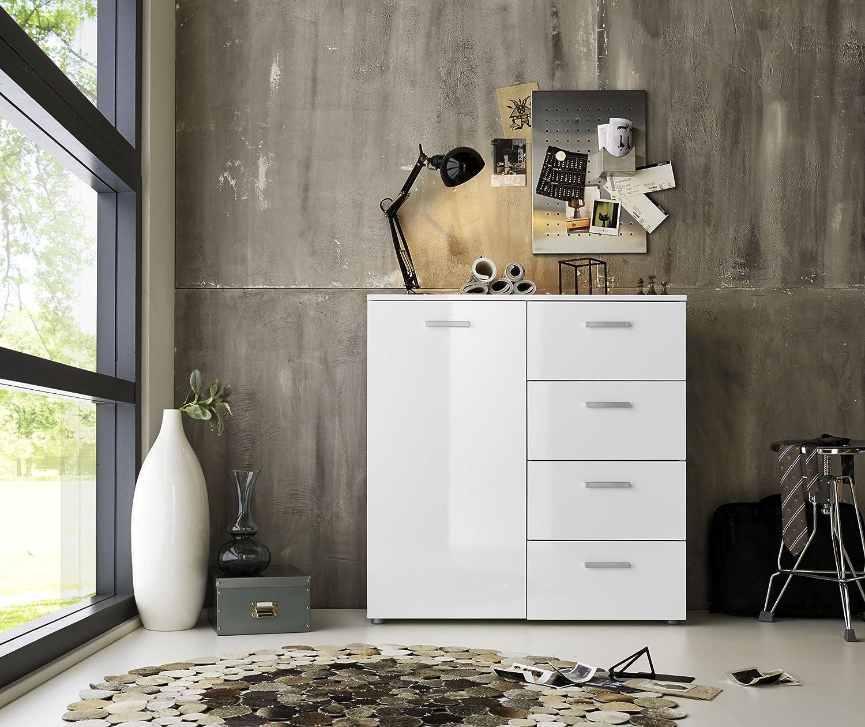 Cajones y puerta comoda - Aparador Marbella en blanco brillante - Fabricado en Alemania directamente desde el fabricante - Altura 91 cm, ancho 88 cm, profundidad 32 cm: Amazon.es: Hogar