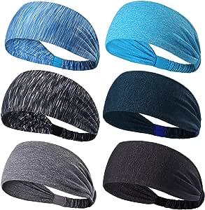 6 Pack Dreamlover Yoga Sports Headband, Women's Elastic Athletic Hairband, Men's Sweatband, Lightweight Working Out Headbands