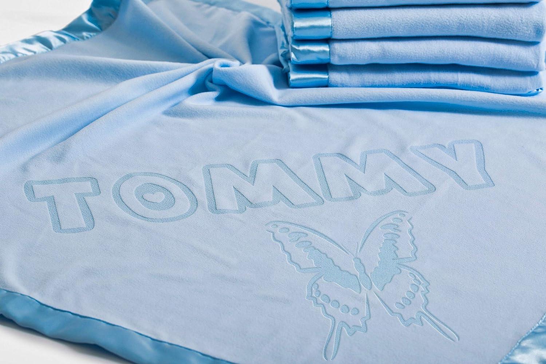 Manta Mariposa Bebe Azul Personalizada con Detalles de Nacimiento,88x88CM