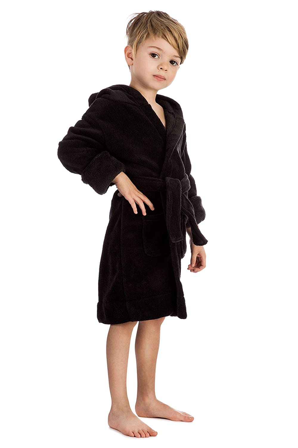 Elowel Boys Girls Hooded Childrens Fleece Sleep Robe Size 2 Toddler 14Y